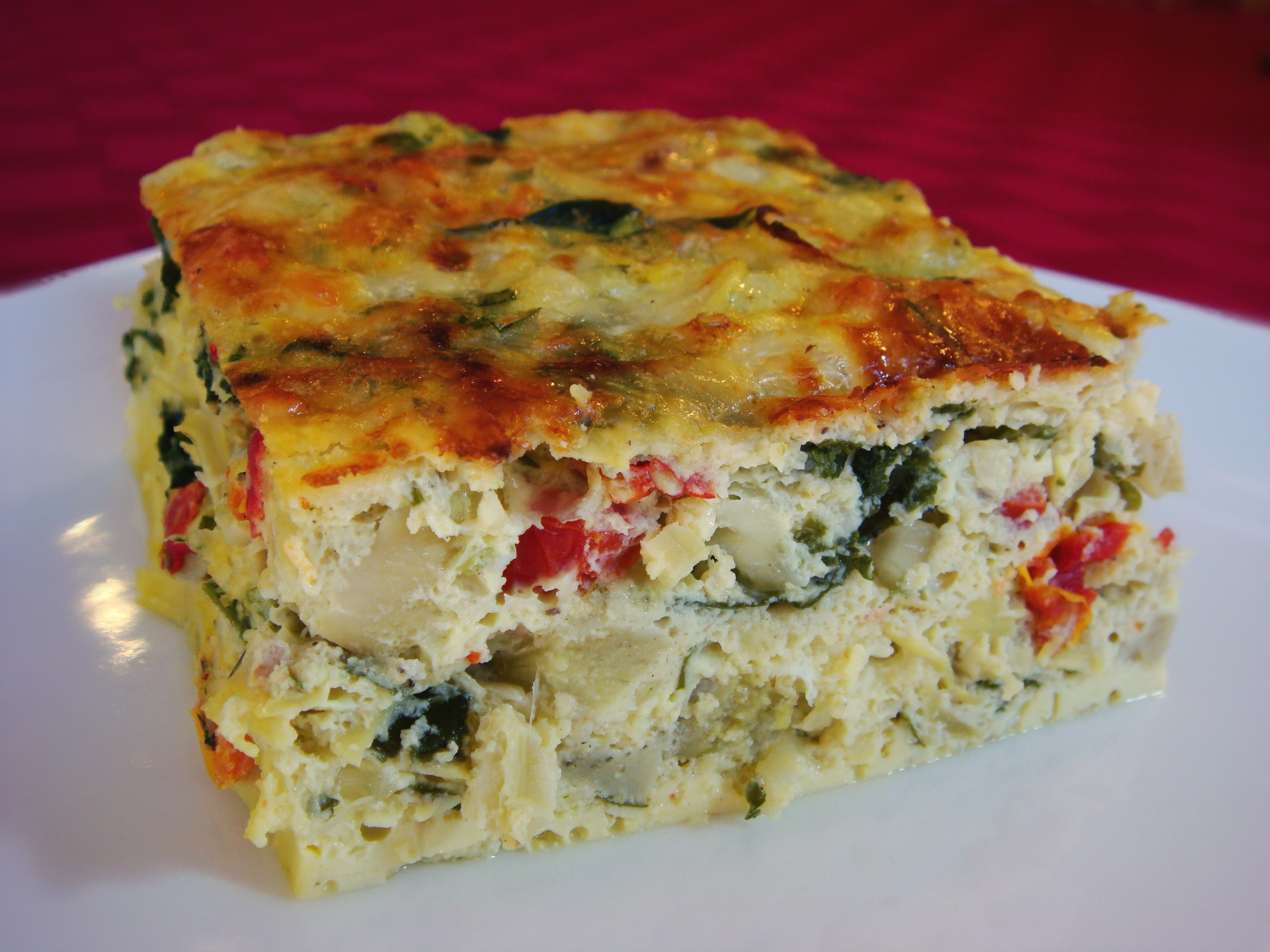 sharp cheddar tomatoes and cilantro baked frittata with artichokes sun ...