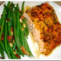 Teriyaki Salmon and Green Beans with Bacon & Pine Nuts