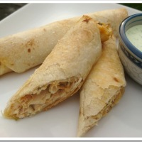 Baked Chicken Taquitos with Cilantro Ranch Dressing