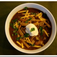 Spicy Black Bean Soup with Shredded Chicken
