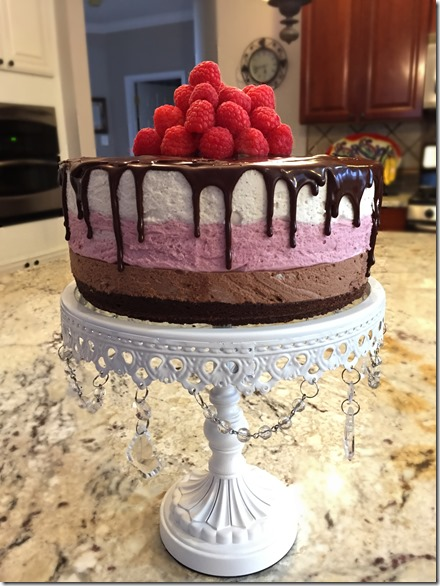 Chocolate Raspberry Vanilla Mousse Cake 6