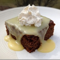 Gingerbread with Lemon Sauce and Cinnamon Whipped Cream