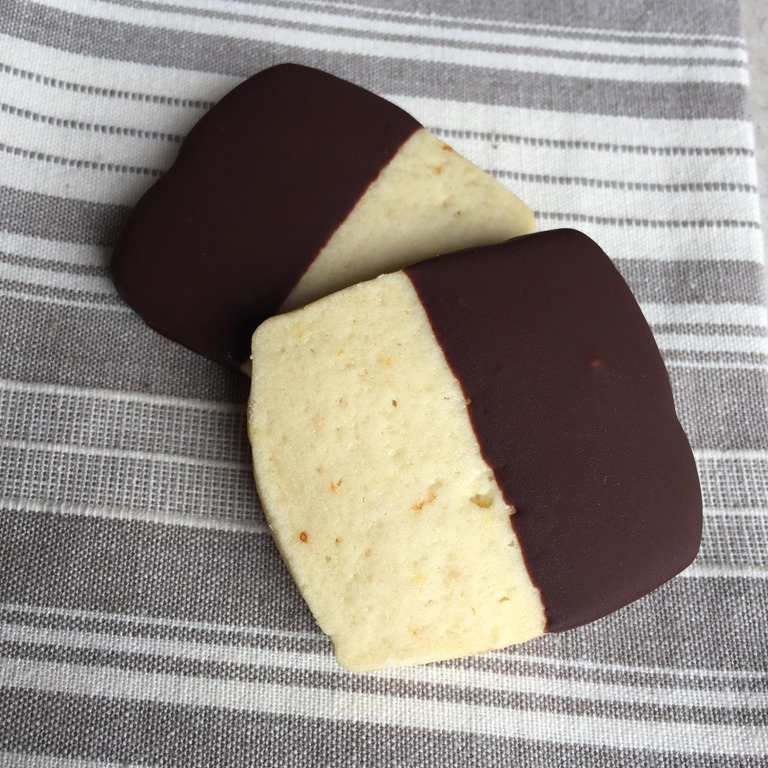 Chocolate Dipped Orange Shortbread Cookies